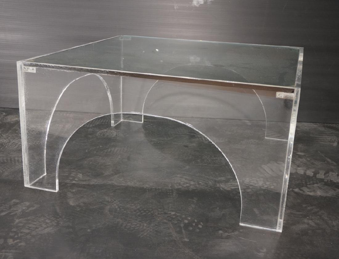 Square Lucite Glass Top Coffee Table. Sides with