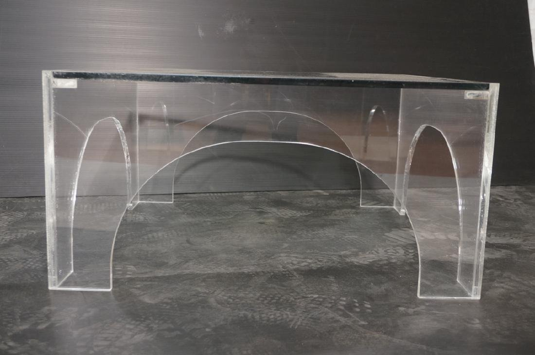 Square Lucite Glass Top Coffee Table. Sides with - 2