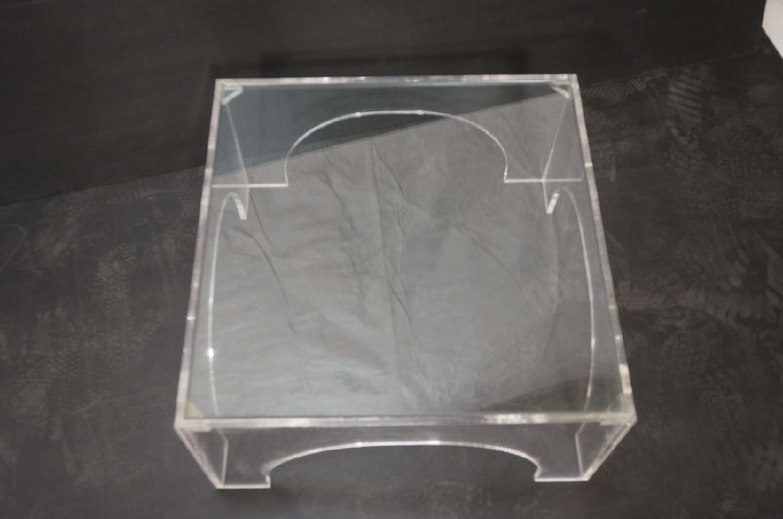 Square Lucite Glass Top Coffee Table. Sides with - 3