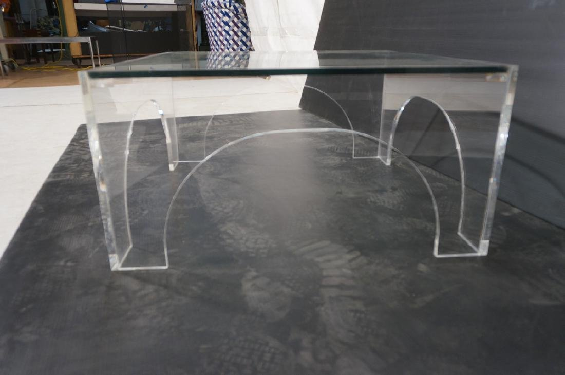 Square Lucite Glass Top Coffee Table. Sides with - 4