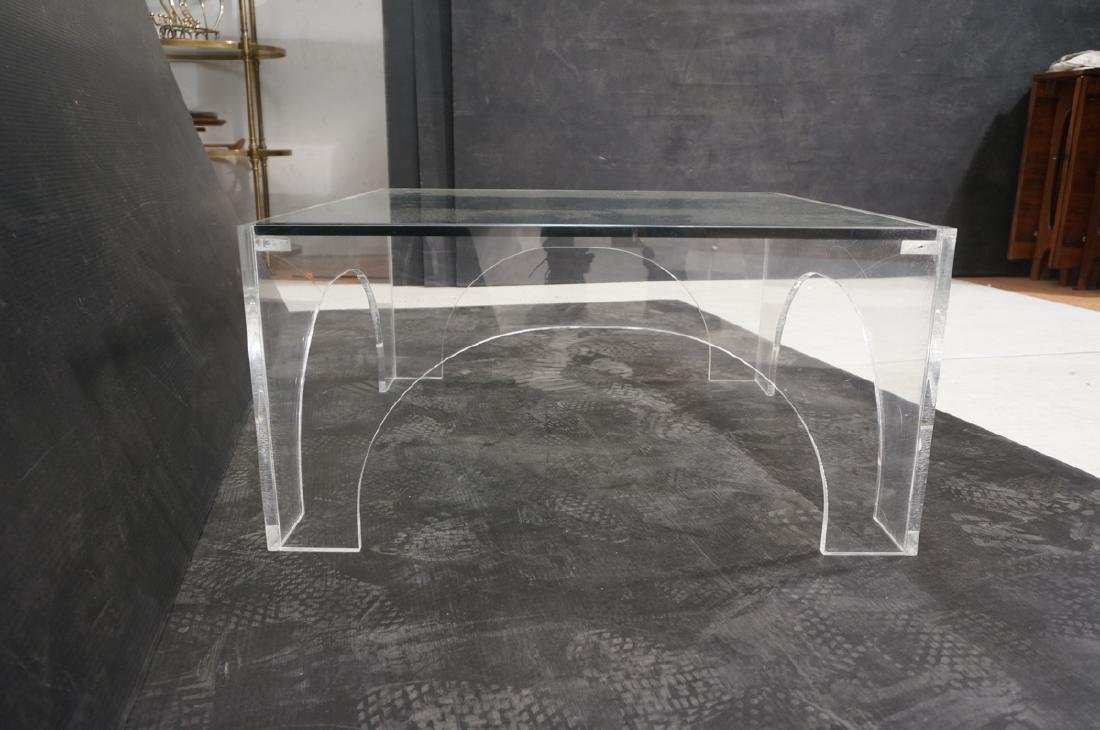 Square Lucite Glass Top Coffee Table. Sides with - 5