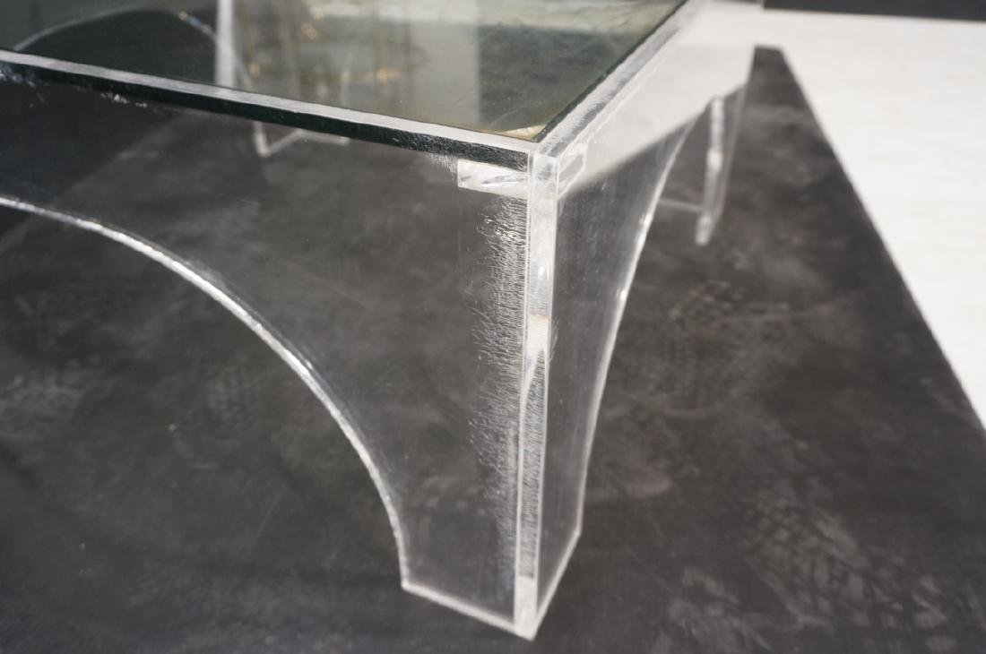 Square Lucite Glass Top Coffee Table. Sides with - 6