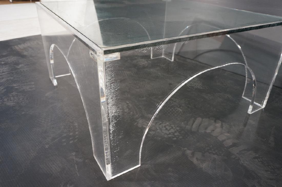 Square Lucite Glass Top Coffee Table. Sides with - 8