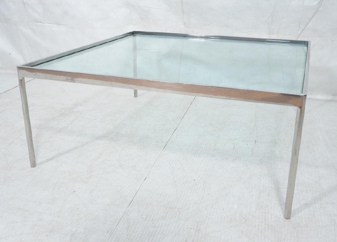 Square Chrome Steel Frame Cocktail Table. Recesse