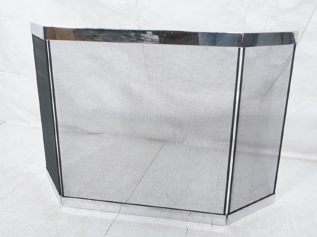 Chrome & Black Mesh Modernist Fireplace Screen Bi