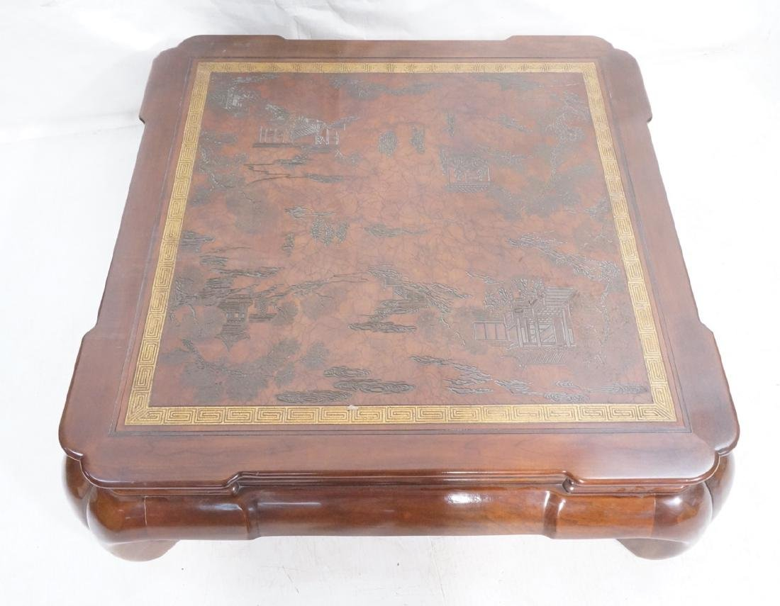 Asian DREXEL Square Wood Cocktail Coffee Table. C