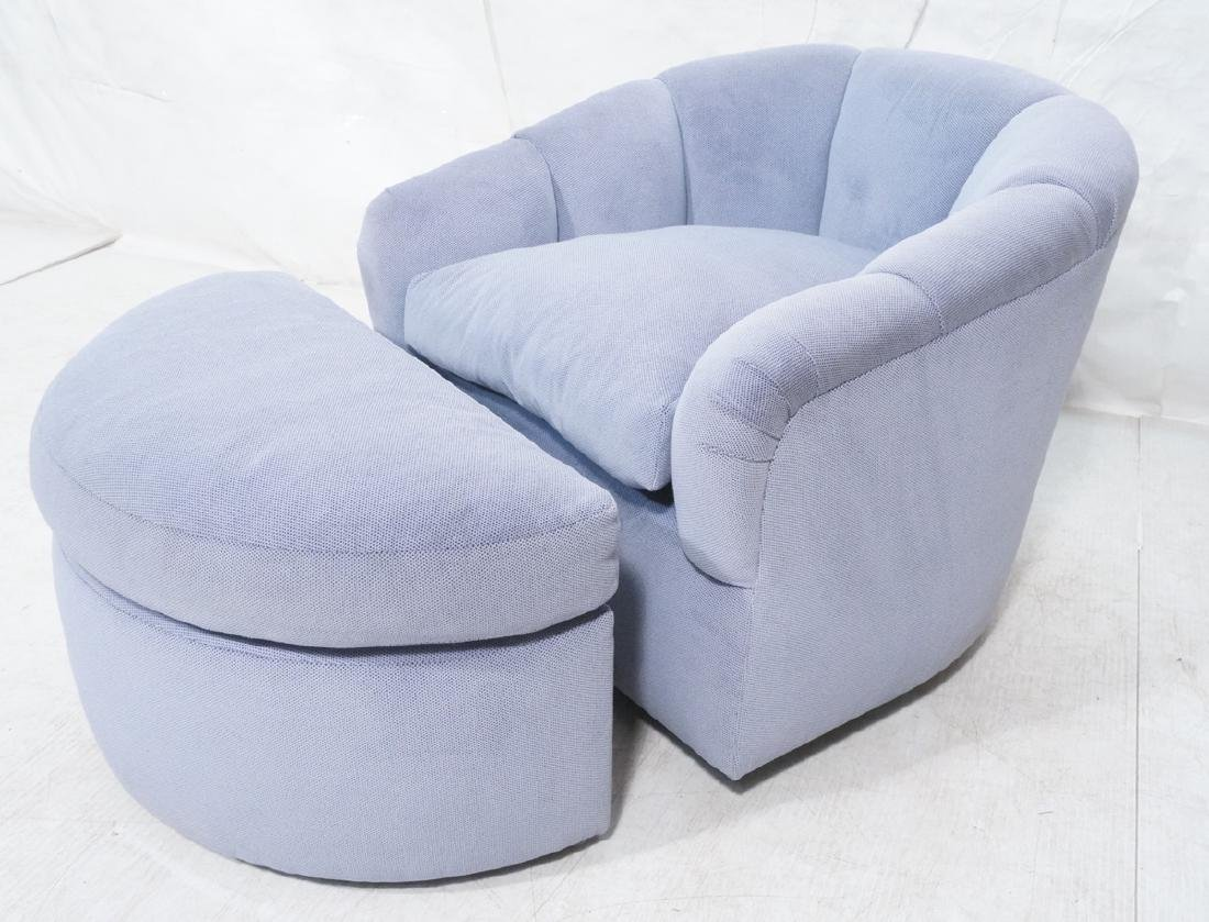 Pale Blue Upholstered Swivel Lounge Chair & Ottom