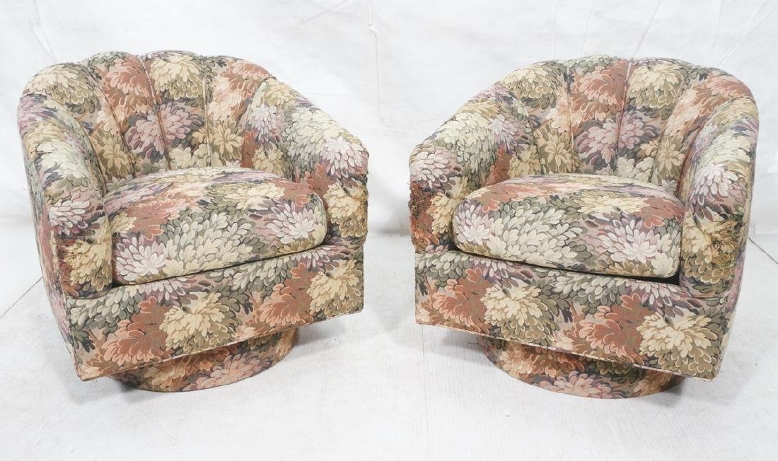 Pr Contemporary Barrel Back Lounge Chairs. Tropic