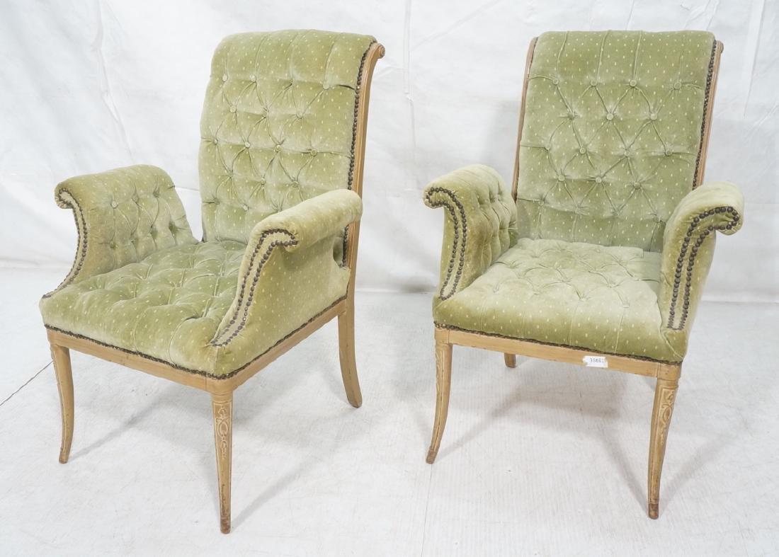 Pr Decorator Tufted Velvet Arm Chairs. Tall backs