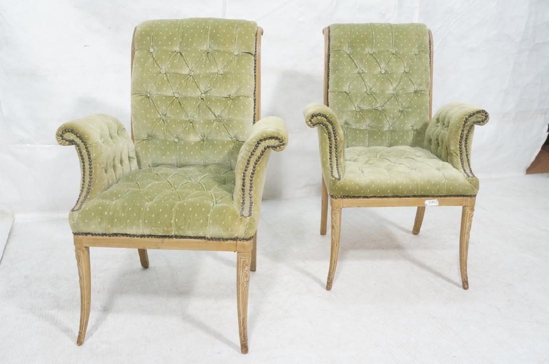 Pr Decorator Tufted Velvet Arm Chairs. Tall backs - 2