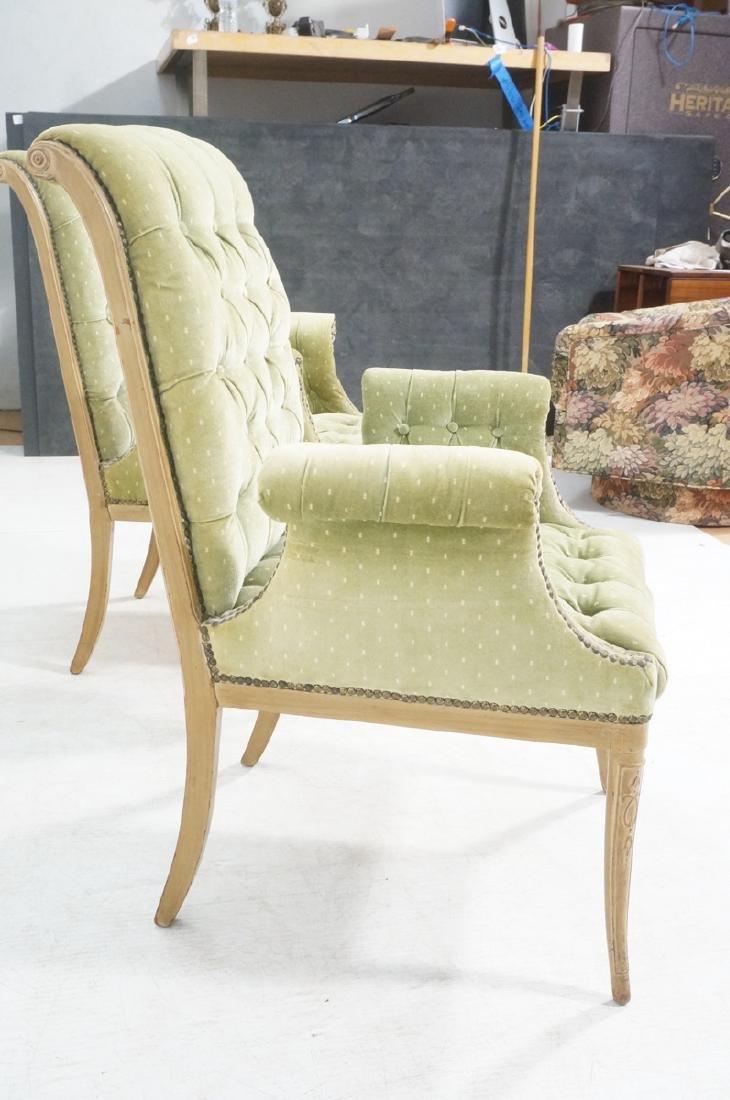Pr Decorator Tufted Velvet Arm Chairs. Tall backs - 3