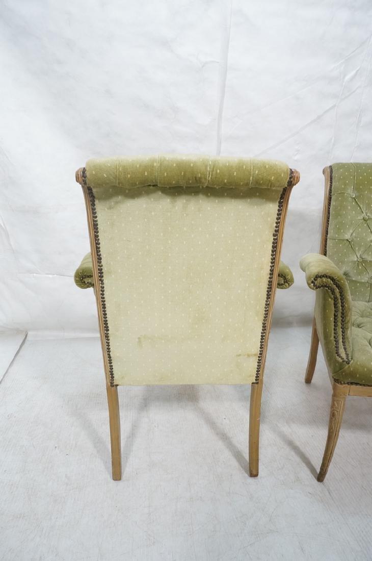 Pr Decorator Tufted Velvet Arm Chairs. Tall backs - 4