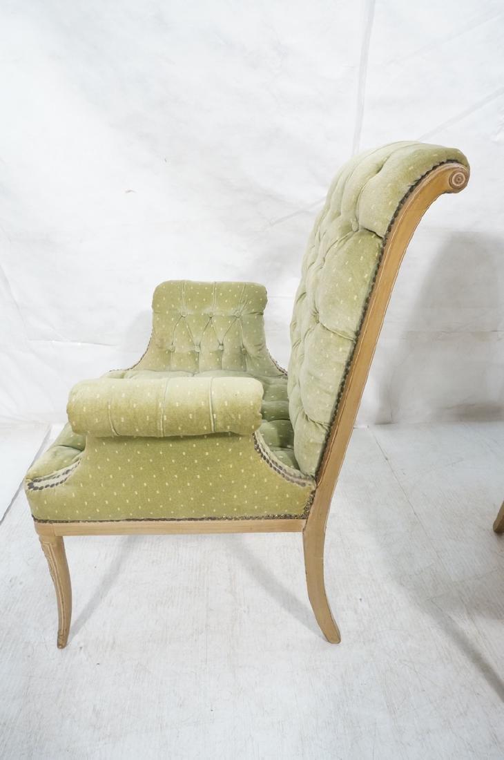 Pr Decorator Tufted Velvet Arm Chairs. Tall backs - 5
