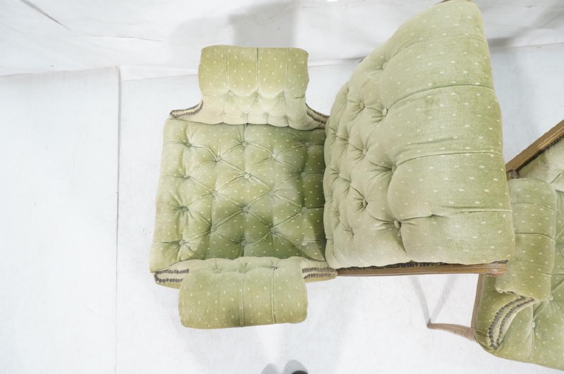 Pr Decorator Tufted Velvet Arm Chairs. Tall backs - 6