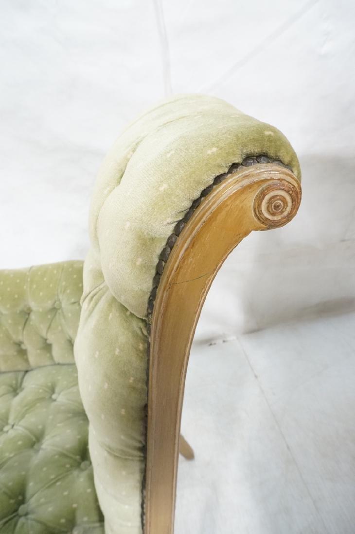 Pr Decorator Tufted Velvet Arm Chairs. Tall backs - 7