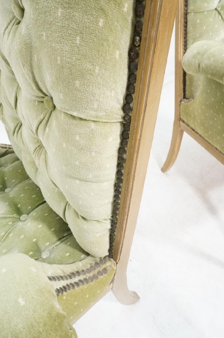 Pr Decorator Tufted Velvet Arm Chairs. Tall backs - 8