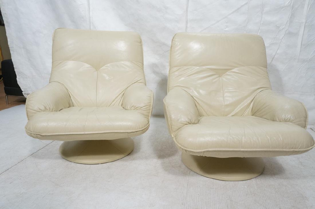 Pr Beige Leather Swivel Lounge Chairs. Completely - 2