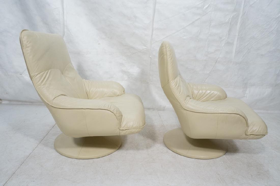 Pr Beige Leather Swivel Lounge Chairs. Completely - 3