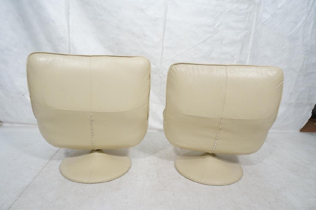 Pr Beige Leather Swivel Lounge Chairs. Completely - 4
