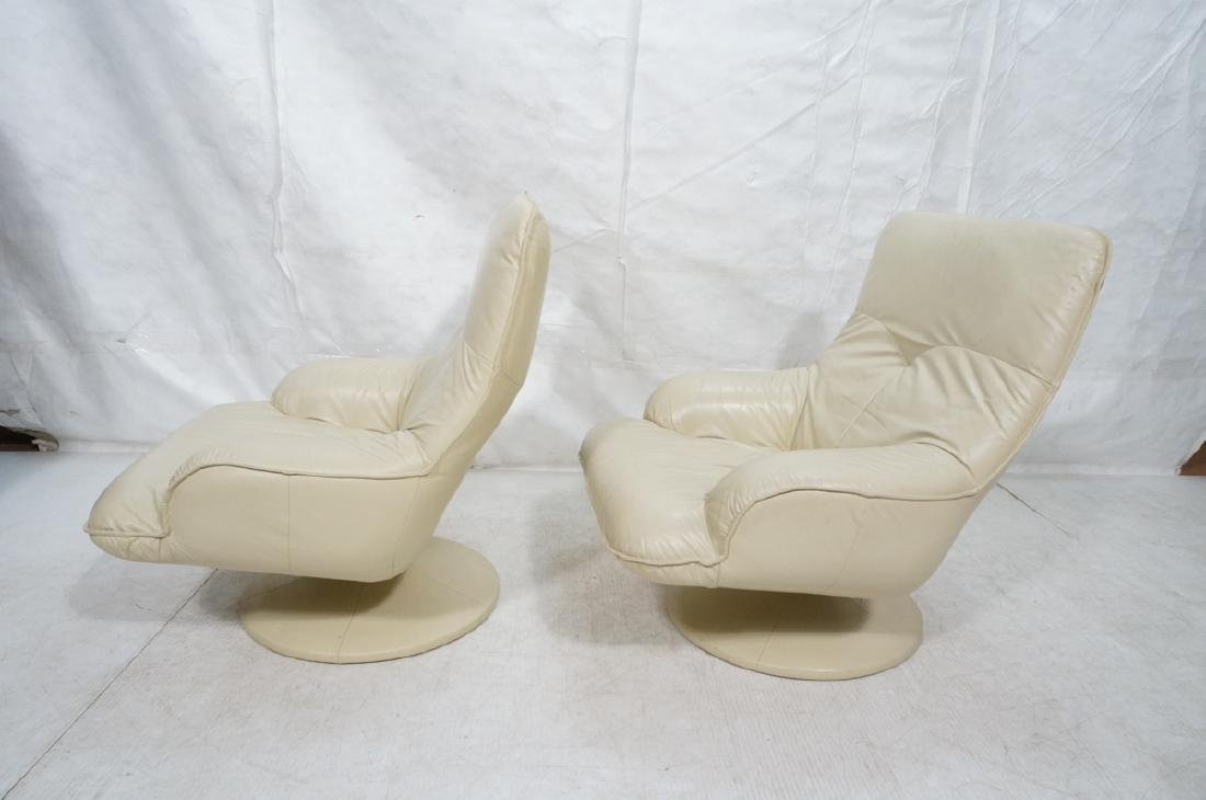 Pr Beige Leather Swivel Lounge Chairs. Completely - 5