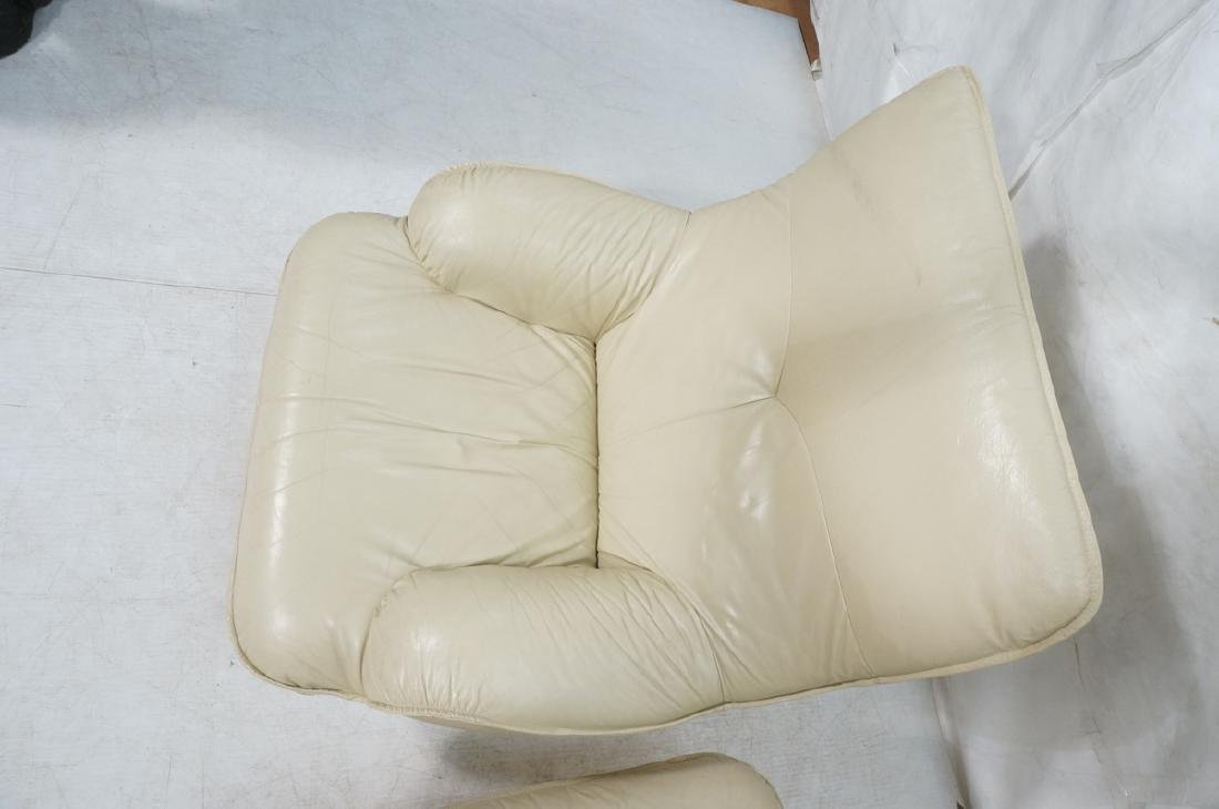 Pr Beige Leather Swivel Lounge Chairs. Completely - 6