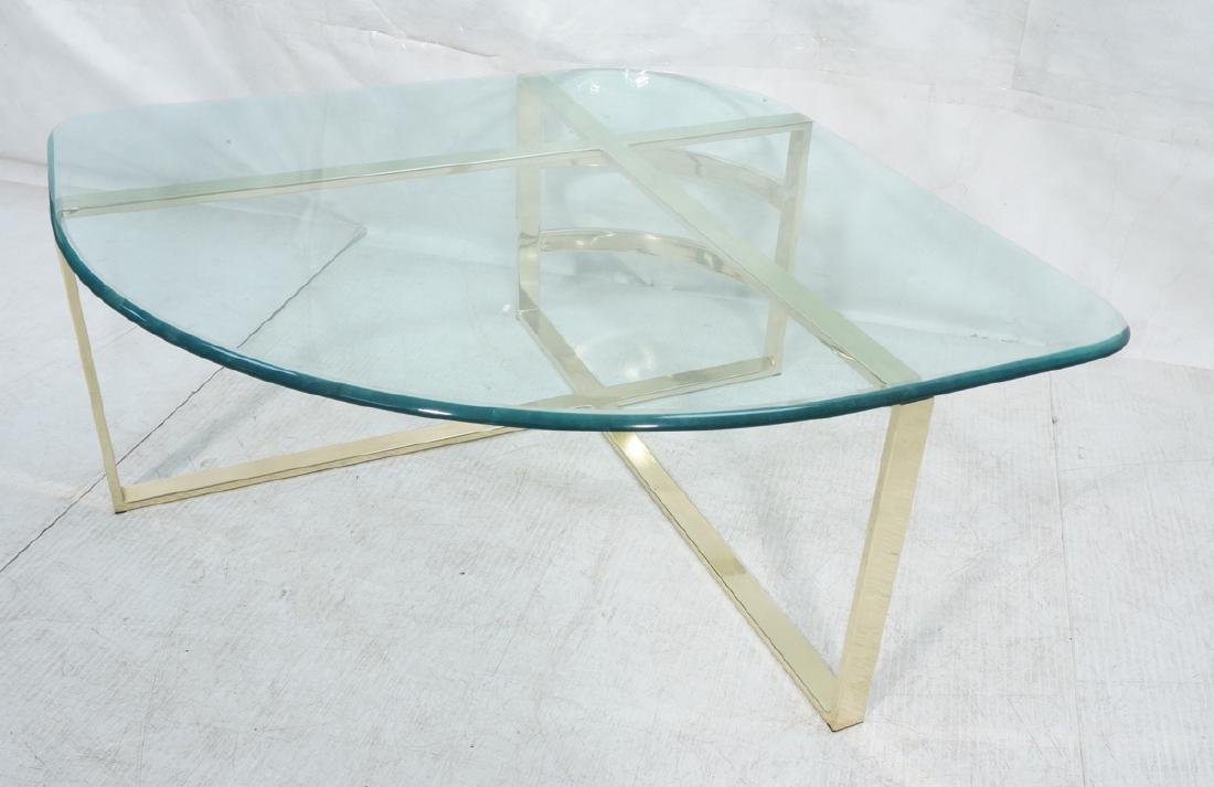 Glass Top Gold Tone Base Cocktail Table. Shaped g