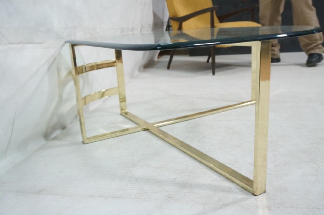 Glass Top Gold Tone Base Cocktail Table. Shaped g - 3