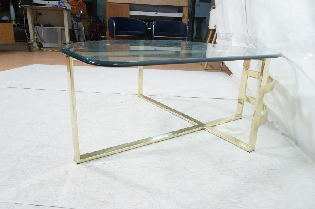Glass Top Gold Tone Base Cocktail Table. Shaped g - 4
