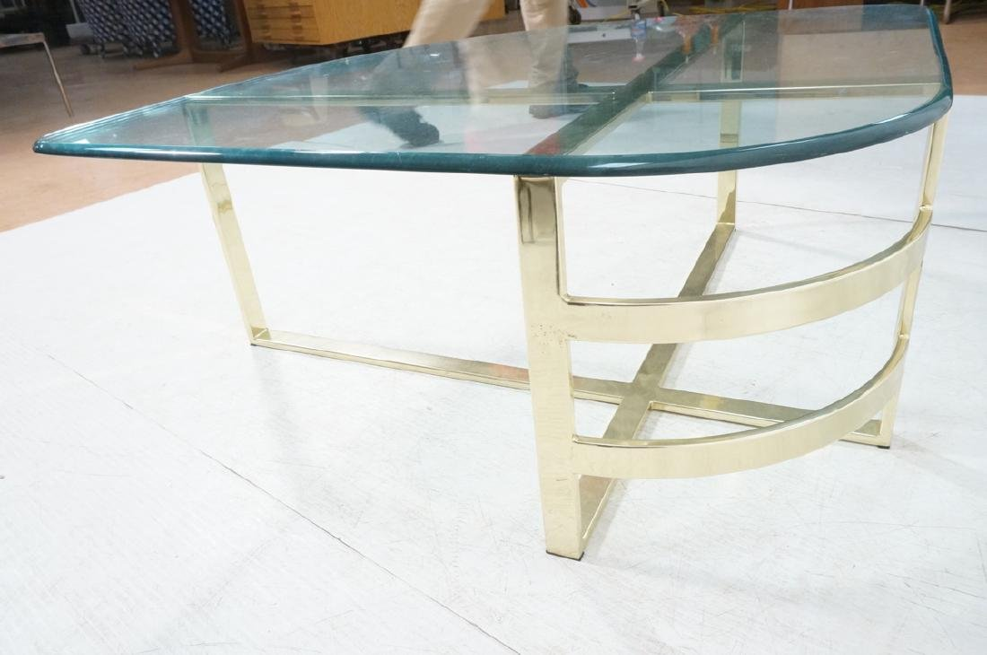 Glass Top Gold Tone Base Cocktail Table. Shaped g - 5