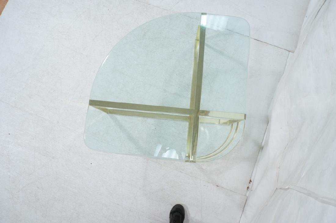 Glass Top Gold Tone Base Cocktail Table. Shaped g - 7