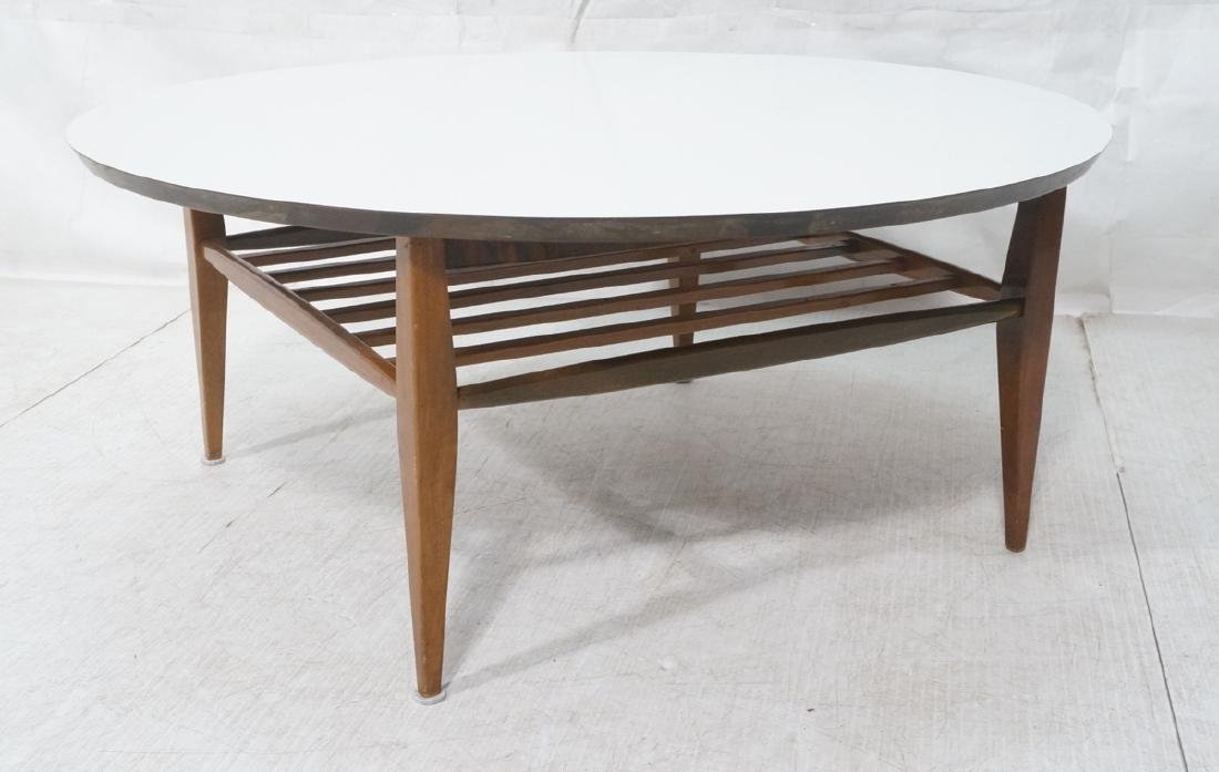 Round White Laminate Top Coffee Table. Square dow