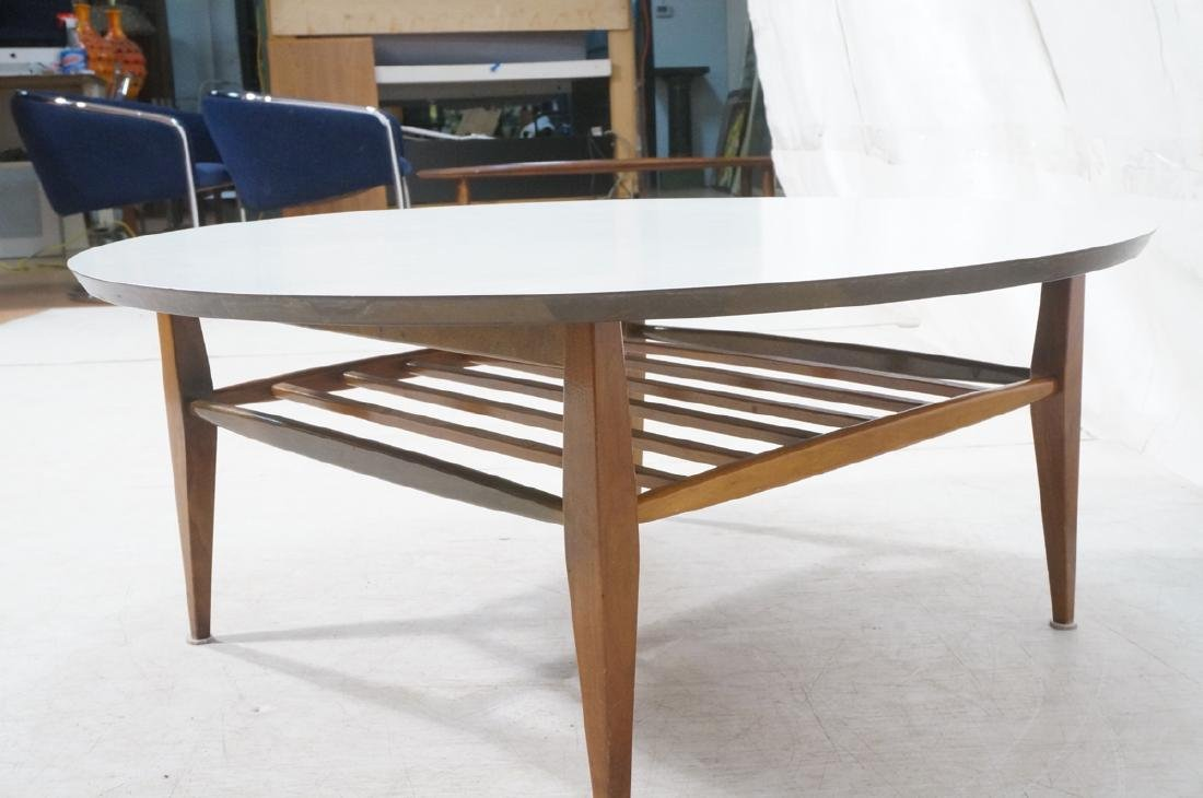 Round White Laminate Top Coffee Table. Square dow - 3