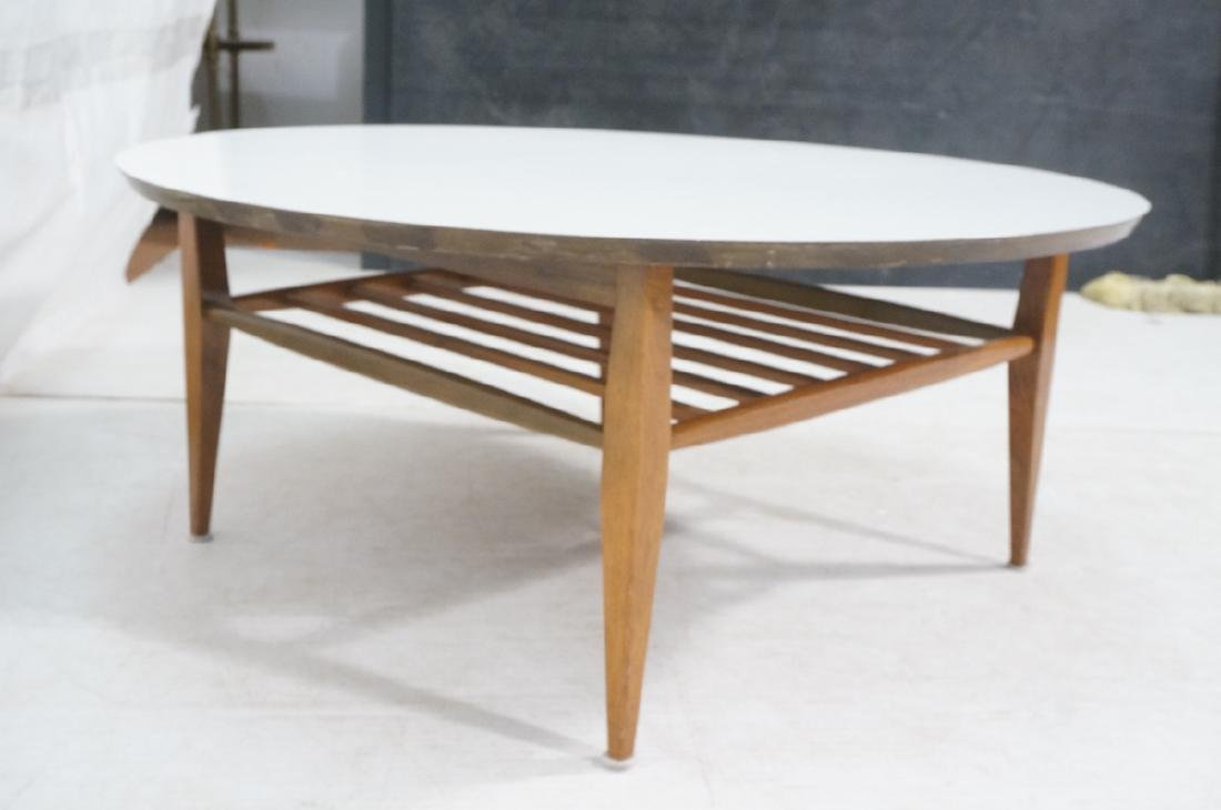 Round White Laminate Top Coffee Table. Square dow - 4