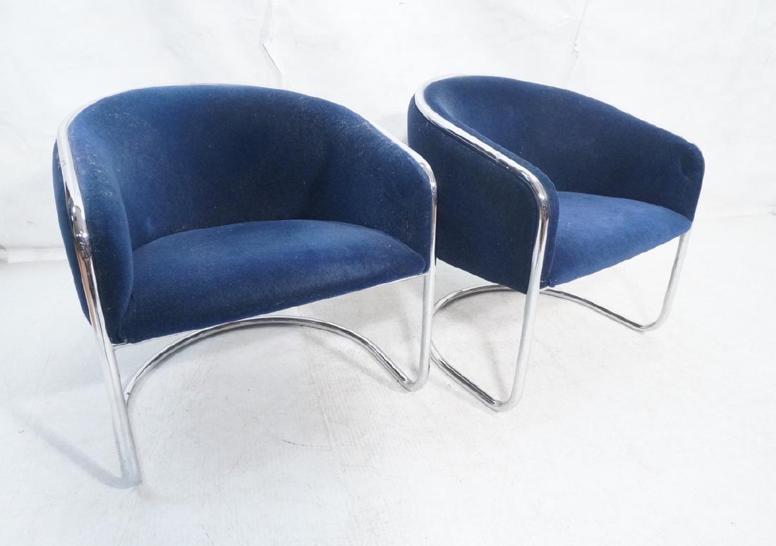 Pr THONET Chrome Frame Modernist Lounge Chairs. R