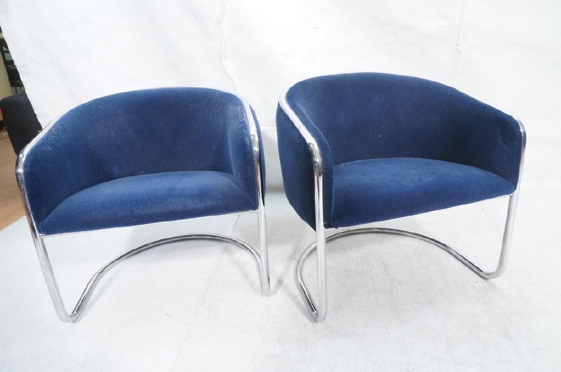 Pr THONET Chrome Frame Modernist Lounge Chairs. R - 2