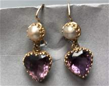14K Gold Antique Edwardian Amethyst Pearl Earring