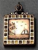Victorian Aesthetic Movement 14K Gold Locket. Squ