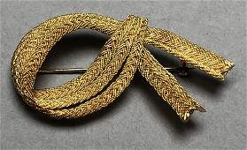 18K Gold Vintage Ribbon Pin. 3 rows of braided go