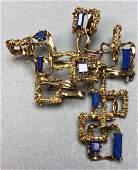 18K Gold Brutalist Modern Pin Lapis Lazuli Sculp