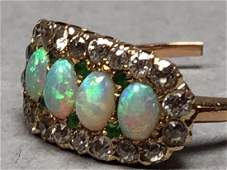 14K Gold Opal Diamond Emerald Ladies Ring 4 fier