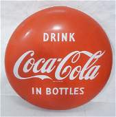 Large 48 inch Coca-Cola Enamel Advertising Sign.