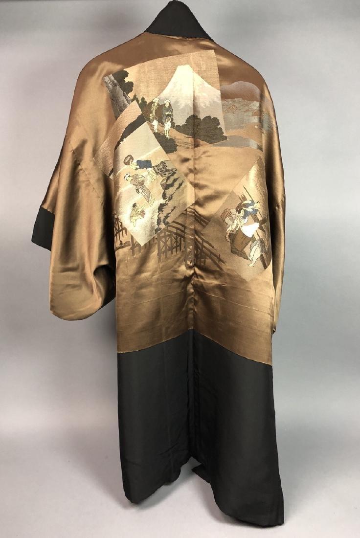 Vintage Japanese Haori Kimono. Black robe. Interi