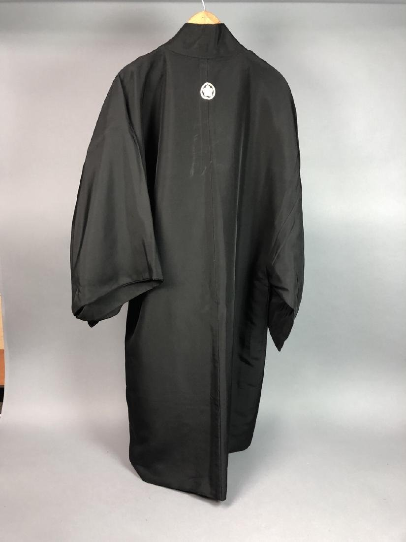 Vintage Japanese Haori Kimono. Black robe. Interi - 6