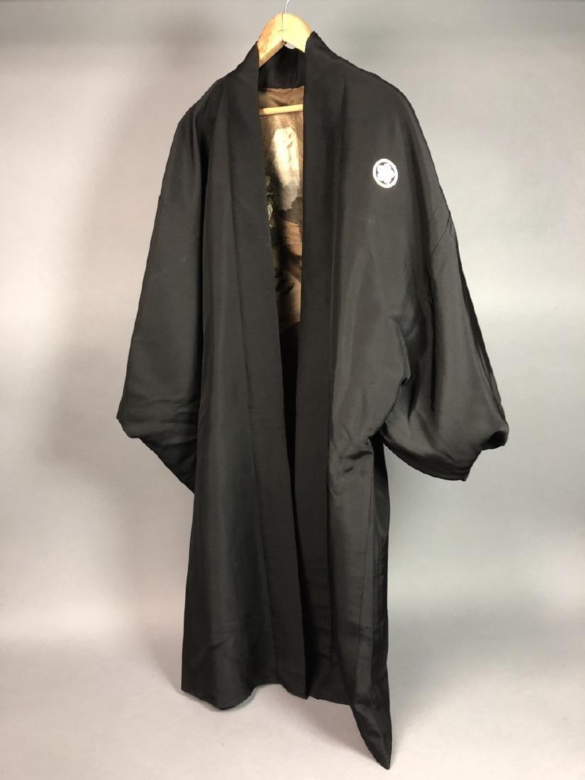 Vintage Japanese Haori Kimono. Black robe. Interi - 7