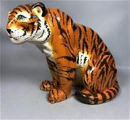 Glazed Ceramic Pottery Italian Tiger Sculpture.