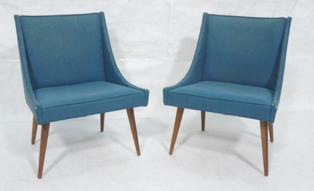Pr THAYER COGGIN Modernist Blue Slipper  Chairs.
