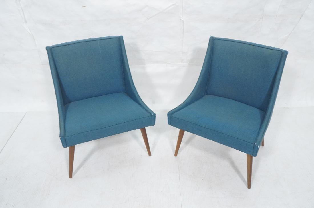 Pr THAYER COGGIN Modernist Blue Slipper  Chairs. - 2