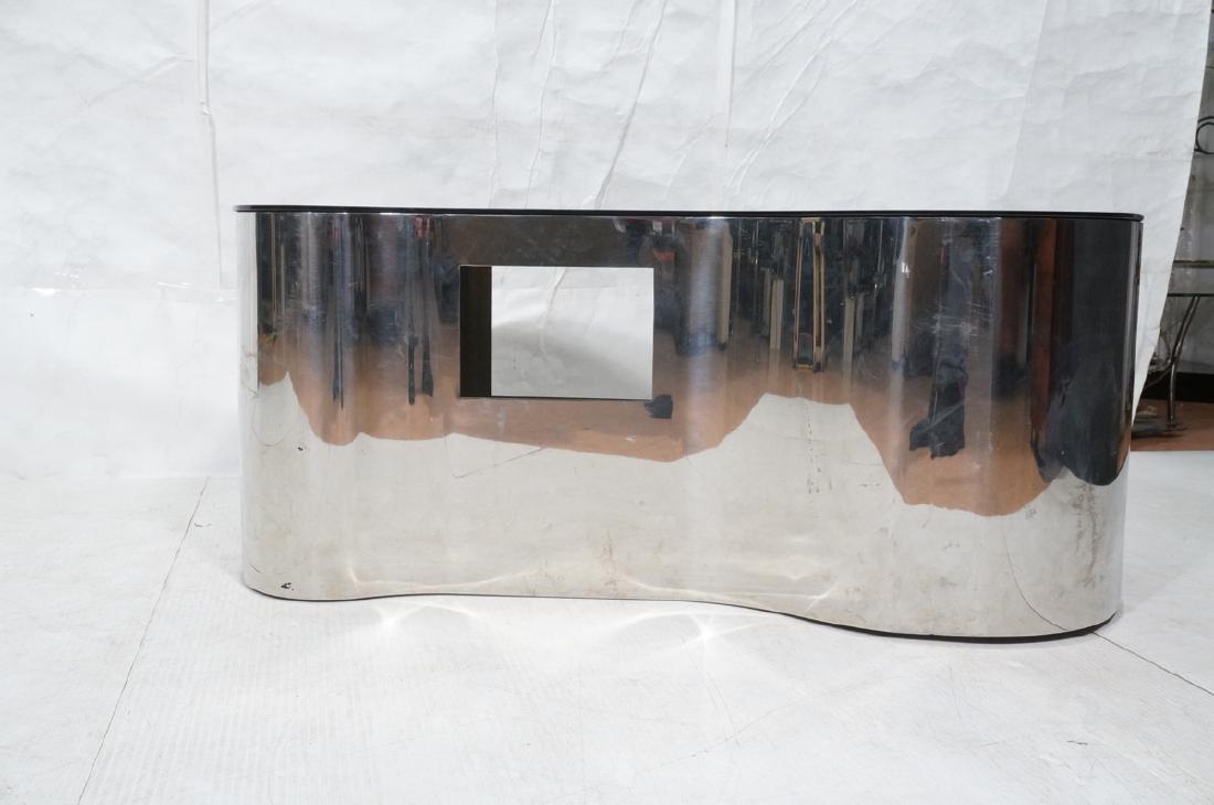 Karl Springer  Chrome Base Coffee Table. Black gl - 2