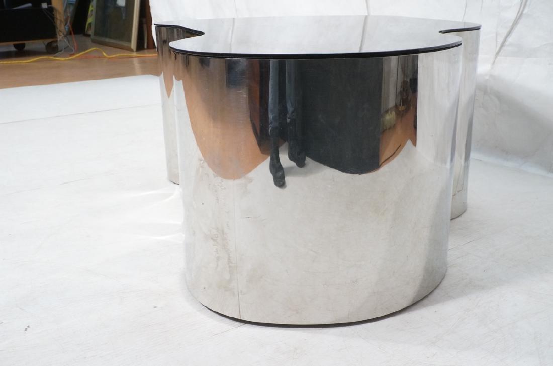 Karl Springer  Chrome Base Coffee Table. Black gl - 3