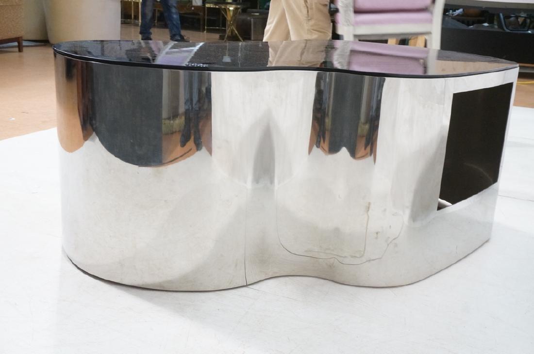 Karl Springer  Chrome Base Coffee Table. Black gl - 4